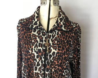 Cheetah Print Robe Slinky Nylon Acetate 1960's Butterfield 8 Maxi Loungewear One Size Fits Many Dressing Gown Sunday
