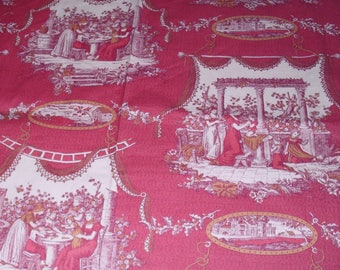 8 Yards Red and Gold Toile Fabric