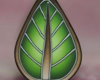 Green Polymer Clay Leaf Cane -'Jungle Journey' series (28B)