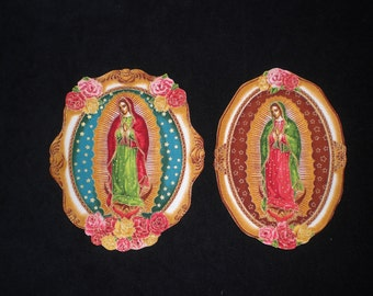 Virgin de Guadalupe Day of the Dead Mexican Art  Iron on Patches Applique DIY No Sew