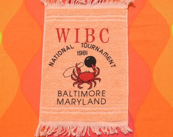 vintage 80s BOWLING towel 1981 wibc tournament baltimore maryland crab graphic bowler's brand new