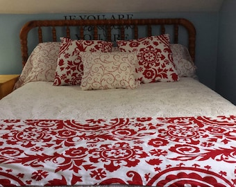 Decorative Holiday Bed Runner Bed Scarf, King/Queen/Full/Twin, Premier Prints Red Scroll or Red Paisley, Choose Size, Holiday Decor