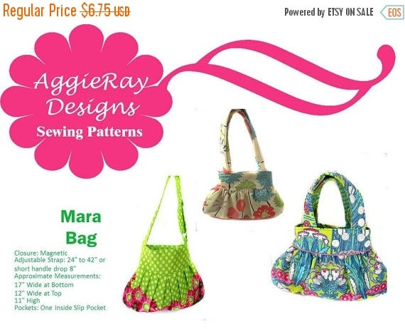 ON SALE INSTANT Download pdf Tutorial Sewing Pattern Handbag Purse:  Mara Bag Create and Sell Product