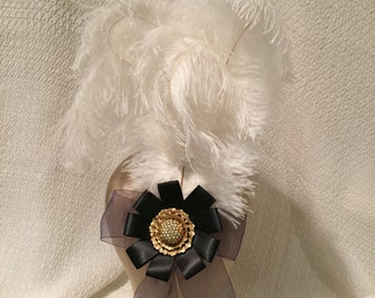Feather hair accessory fascinator, black ribbon with gold rhindstone, wedding, 18th century, costume, burlesque, masquerade