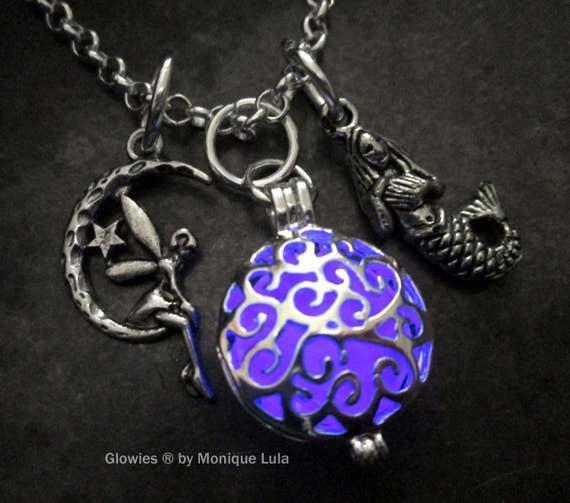 Mermaid & Moon Fairy Violet Magic Glow Locket® Necklace