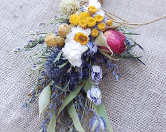 Wild Summer Garden Boutonniere  Pin On or Wrist Corsage of Lavender Blue Pink Yellow White Naturals Dried Flowers, Grasses and Grains