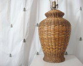 Vintage Wicker and Rattan Table Lamp, Natural, Brown, End Table Lamp, Nightstand Lamp, Ru