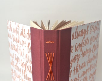 Pink Ombre Calligraphy Handbound Journal, Pink & Burgundy Starburst Album, Handwriting Hardcover Sketchbook