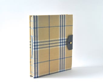 Brown & Blue Plaid Hardcover Blank Book, Neutral Plaid Hardcover Journal, Handbound Journal with Brass and Reclaimed Leather Closure