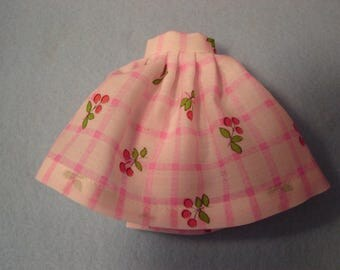 Blythe Windowpane with Cherries Skirt for Pullip and Vintage Skipper Too!