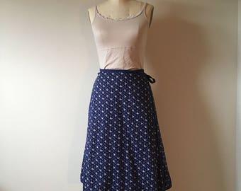SALE! Vintage Reversible Wrap Skirt. Navy and Tan Calico Print