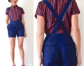 SUMMER SALE/ 30% off Vintage 80s 90s Navy Blue Suspender Shorts (size extra small, small)