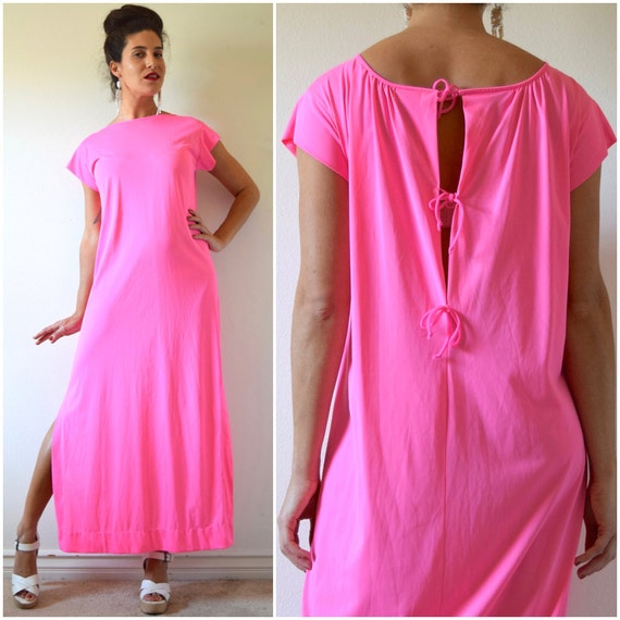 Vintage 60s 70s Neon Pink Nylon Nightgown (size small, medium)