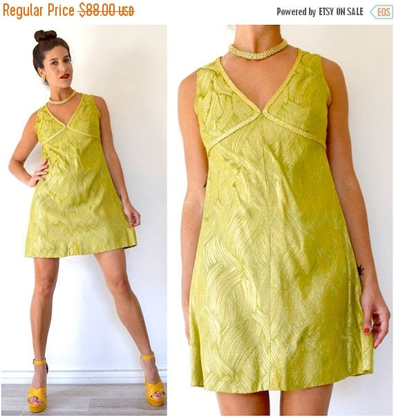 SPRING SALE / 30% off Vintage 60s Metallic Chartreuse and Gold Brocade Empire Waist Mini Dress (size medium, large)
