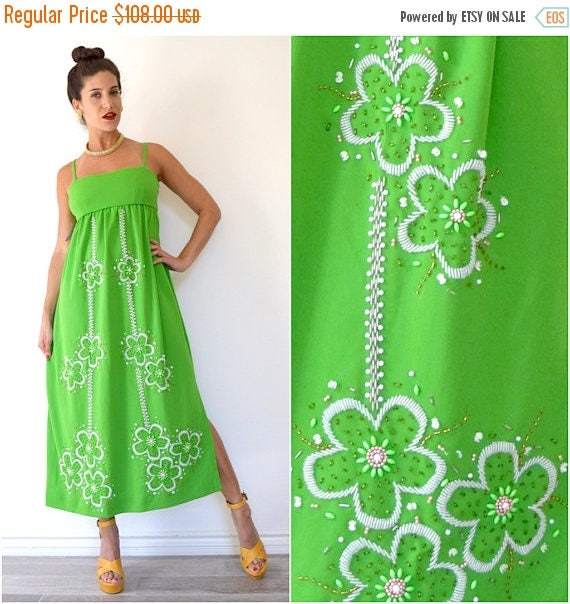 SPRING SALE / 30% off Vintage 60s 70s Lime Green Floral Beaded Empire Waist Midi Dress (size small, medium)