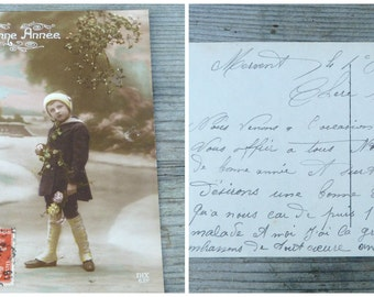 Vintage Antique 1900 /1910 postcard /old French / recolored / Happy new year