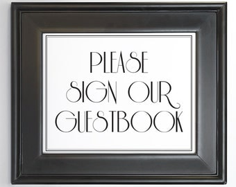 Guest Book Sign Printable DIY Digital File PDF Wedding Decor Reception Sign 8x10 5x7 4x6 Retro Formal