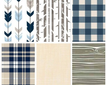 Plaid Quilt - Arrow Quilt - Woodland Quilt - Birches Quilt - Navy Blue Quilt - Baby Boy Quilt - Baby Boy Bedding - Woodland Nursery