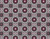 1 YARD - Balinese Balance in Black Red White, Geometric, by David Textiles 100% Cotton by the yard  SALE