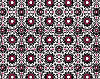 HALF YARD - Balinese Balance in Black Red White, Geometric, by David Textiles 100% Cotton by the yard  SALE