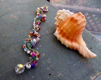 Silk flowers crocheted double bracelet
