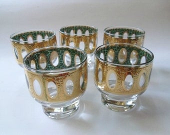 5 Vintage Culver Antiqua Glasses, Footed Highball Tumblers, Crackle Gold with Blue, Mid Century Barware