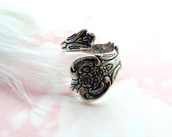 SILVER RING Floral Posie Rose Spoon Ring ~ Antique Silver Adjustable Retro Statement Ring (RD-2)
