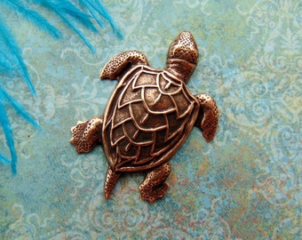 ANTIQUE COPPER (2 Pieces) Large Sea Turtle Stamping - Jewelry Findings (CA-3045)