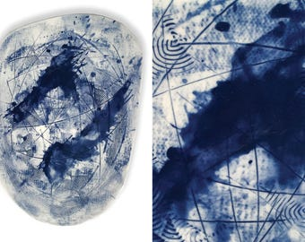 Two Birds Art Plate, Blue Fine Art Platter, Ceramic Wall Art