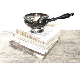Vintage Silver Gravy Boat, Antique Sauce Dish, Sauce Bowl, Handled Serving Dish, Sauce Warmer, Footed Dish, Succulent Pot