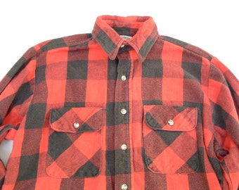 vintage men's black and red plaid soft  flannel button shirt  lumber jack grunge look  five brother made in USA size medium unisex