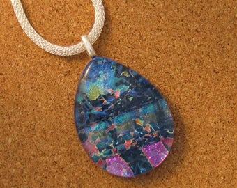 Blue Dichroic Pendant -Dichroic Jewelry - Dichroic Necklace - Fused Glass Pendant - Fused Glass Jewelry - Fused Glass Necklace - Glass