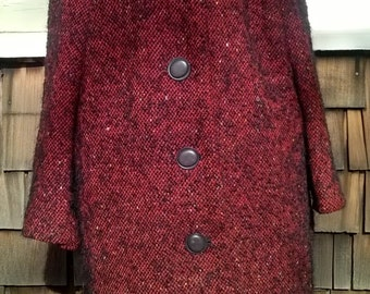 Ladies Coat, 1960s Mohair Coat, Handmade Vintage Coat, Red and Black with color Flecked Wool, sz Ladies Med to Lrg, to 42 bust, 12 14