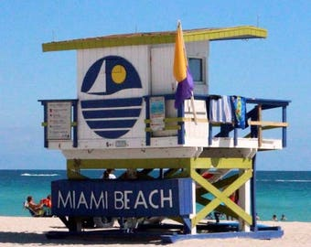 Art Deco 5th Street Lifeguard Tower of Miami Beach - South Beach Architecture - Original Colour Photograph by Suzanne MacCrone Rogers