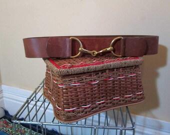 Bridle Bit belt 70s Brass buckle brown leather belt Vintage Schafer belt leather cowboy belt cowgirl belt 70s vintage belt 35 M L