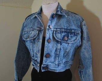 Acid Wash 80s Blue Denim Jacket Cropped 80s acid wash denim Jacket cropped 80s denim jacket Vintage Cropped Jacket 80s blue denim Jacket S