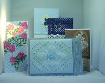 Five hand crafted greeting cards - birthday, with sympathy