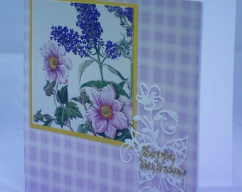 Lilac Birthday Card featuring wild roses and budlea