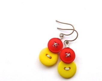 Spring Sale Yellow and Red and Vintage Button Earrings