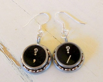 SALE Typewriter Key Earrings, Question Marks, Recycled & Retro, Industrial Chic