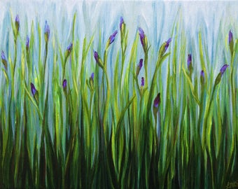 Iris Buds Garden - Original Abstract Floral Art Painting - 16x20 inch - Acrylic Painting - Modern Contemporary Art