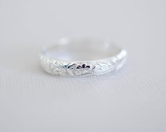Floral Sterling Band Ring - Sterling Silver Ring
