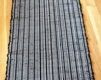 "Black Woven Rag Rug Hand Loomed 64"" x 27"" USA Made New Machine Washable"