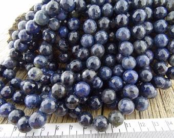 10mm Dumortierite Beads - Dumortierite Faceted Beads - Blue Denim Stone Beads - Blue Gemstone Beads, Sunset Dumortierite