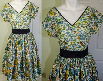 Vintage 1950s Killer Atomic Rockabilly Cotton Print Top and Circle Skirt