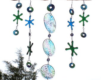 Green Blue and Purple Dangling Round Circles Beads and Stars Fused Glass Suncatcher Mobile