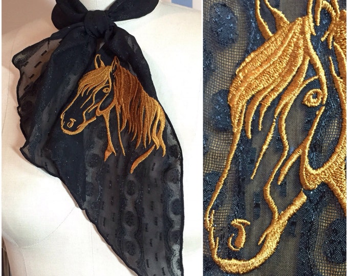 Sheer Black Western Tie Scarf with Horse Embroidery