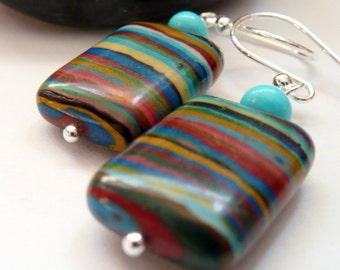 Artisan Rainbow Calsilica RARE Nacozari Turquoise Sterling Silver OOAK Southwestern Western Boho Hippie Gift for Her Earrings