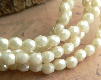 Beige Luster Czech Glass Fire Polished Round Beads Opaque Ivory Cream 4mm (50)