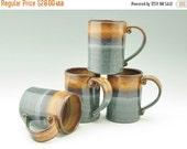 Mug Sale Stoneware Coffee Mug Singles, Cafe Style 16 oz Beer Mug, Honey Brown & Dark Blue Mug, Handmade Pottery Holiday Gift Idea for Him or